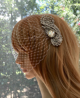 Wedding Bridal Veil, Crystal Wedding Veil, Birdcage Bandeau Veil