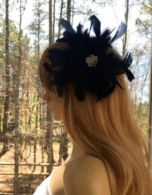 Black Feather Veil For Wedding, Black Gatsby Veil