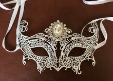 Rhinestone Masquerade Mask, Downton Abbey Mask, Costume Party Mask, Deco Crystal Silver Mask, Wedding Bridal  Mask, Great Gatsby Mask