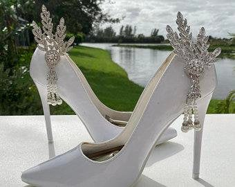 Bridal Shoe Accessory, Wedding Shoe Accessory, Rhinestone Shoe Clips, Crystal Shoe Clips,  Wedding Shoe Clips