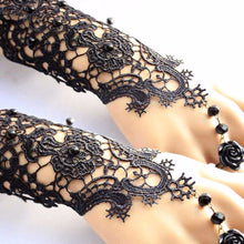 Black Lace Gloves, Glove With Ring, Black Formal Glove, Lace Formal Accessory