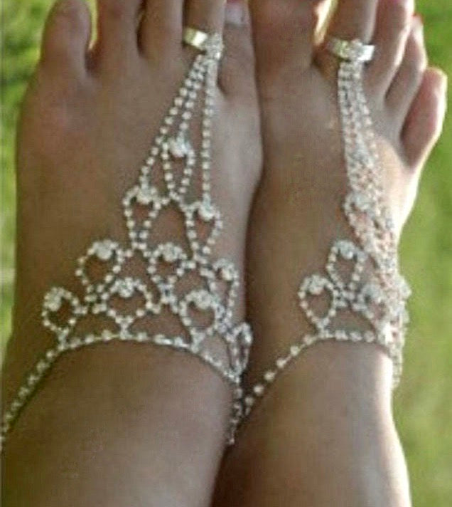 Summer Beach  Wedding Shoes, Party Bridal Ankle Bracelet
