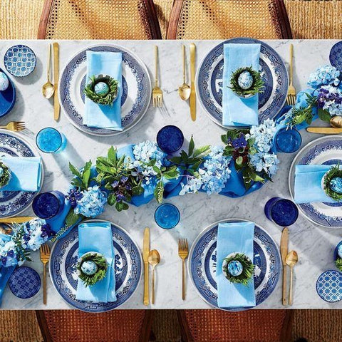 blue and white table