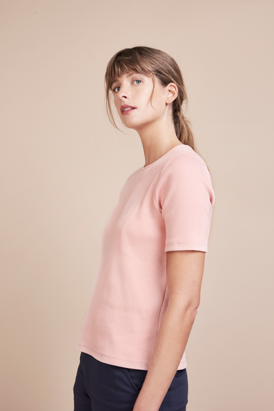 Astrid Rose Rib Ethical Cotton T-Shirt