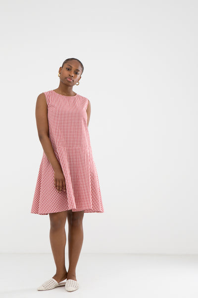 Lykke Red and Ecru Gingham Dress