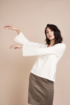 Organic Cream White Flare Arm Blouse