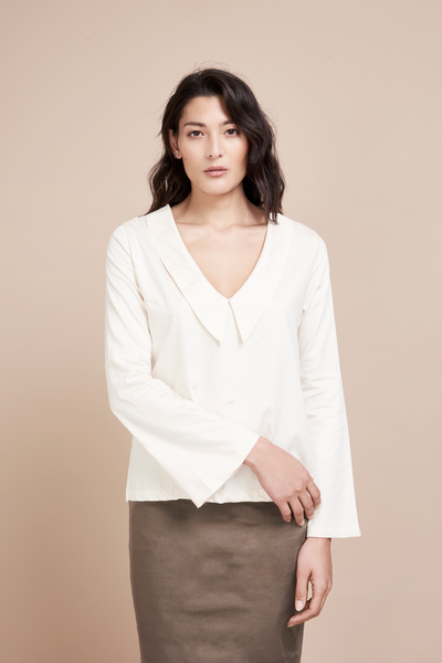 Organic Cream White Sailor Blouse