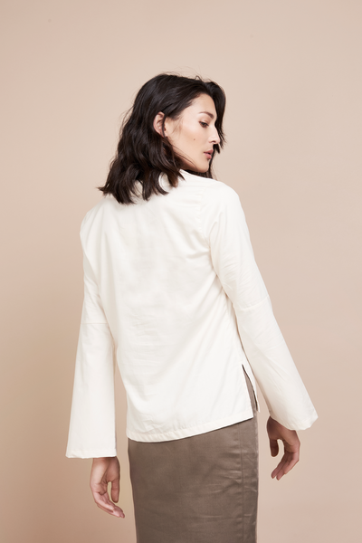 Ethical Cream White Flare Sleeve Blouse