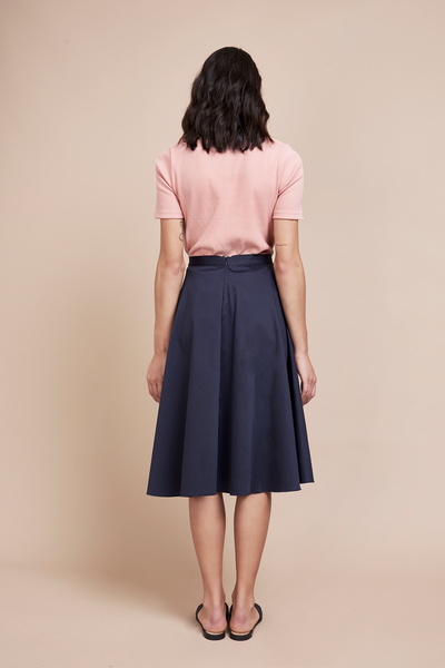 Ethical High Waisted Navy Flare Midi Skirt