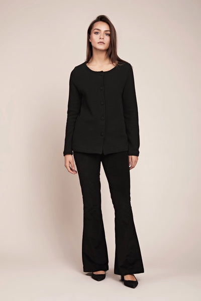Classic stylish ethical organic black cardigan with pockets