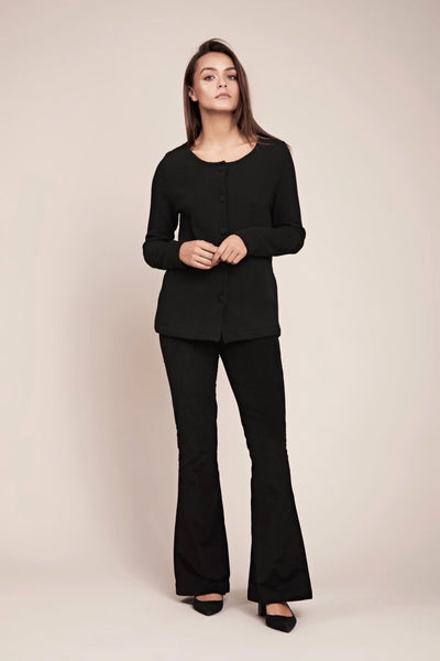 Stylish black ethical and organic cotton cardigan
