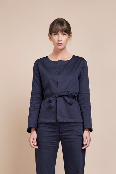 Organic Wrap Blouse Flare Sleeves Navy Blue
