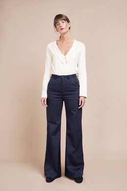 Organic Navy Flare Palazzo Pants, high waisted, side stripe, ethically and sustainably made.