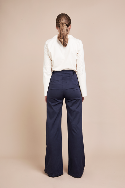 Back of Navy Flare Palazzo Pants, high waisted, side stripe, ethically and sustainably made.