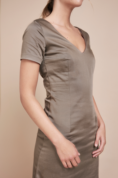 V-Neck Organic Taupe Dress