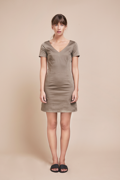 Organic V-Neck Taupe Dress