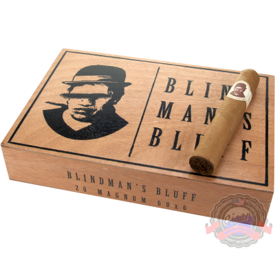 Caldwell Cigars Blind Man's Bluff is rolled in the same factory as the great Camacho and uses similar Honduran ligero fillers, with a dash of some vintage Dominican. Its wrapper is a luscious Ecuadorian Habano wrapper that gives it a dark spice, but a very smooth. Straight from Cigar Basement.