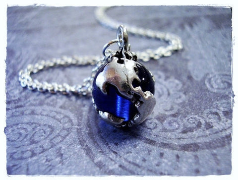 Sapphire Blue Earth Globe Necklace