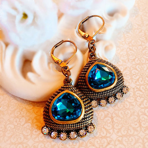 Egyptian Earrings - Teal - Statement Earrings - Crystal