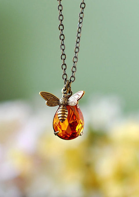 Bee Necklace, Honey Bee Bumble Bee Jewelry