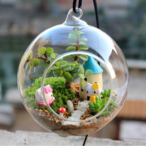 Transparent Ball Globe Shape Clear Hanging Glass Vase Flower