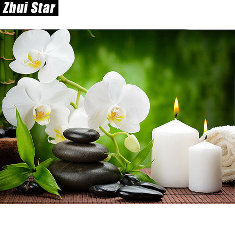 "5D DIY Diamond Painting ""Orchid Candles Stones"""