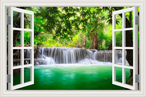 3D  Wall Sticker Home Decal Waterfall 3D Window