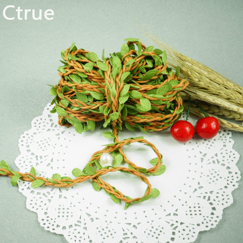 2 Meters Natural Twine String with Leaf DIY craft