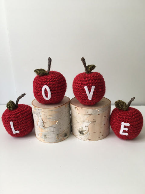 Home warming gift.Crochet LOVE apples. Christmas gift. Birthday present