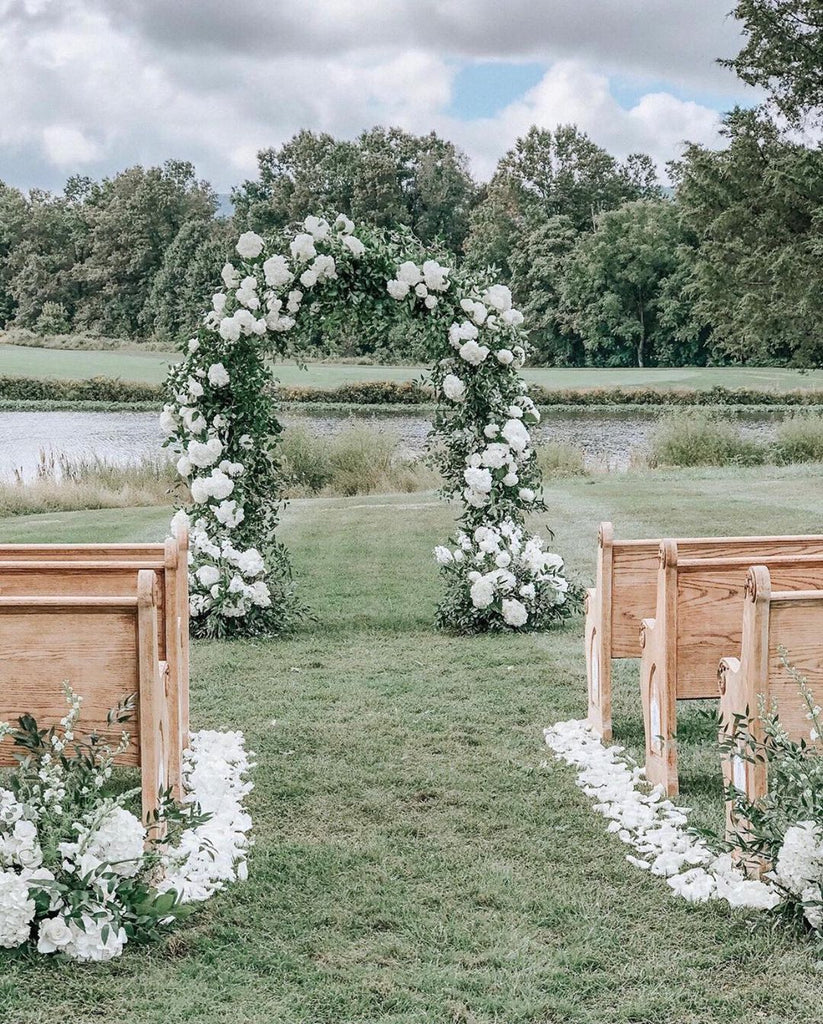 flower petal wedding aisle decor