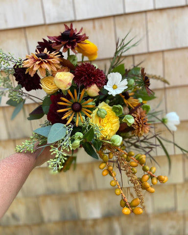 burgundy and yellow bridal bouquet
