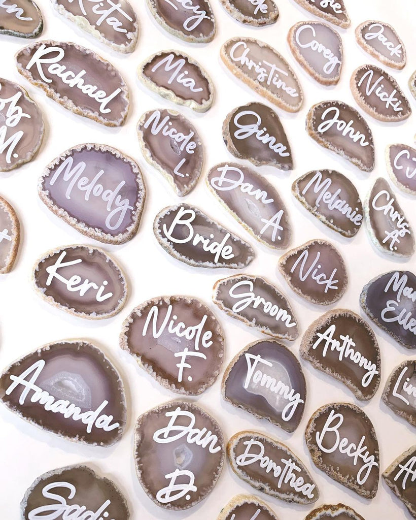 agate escort cards calligraphy