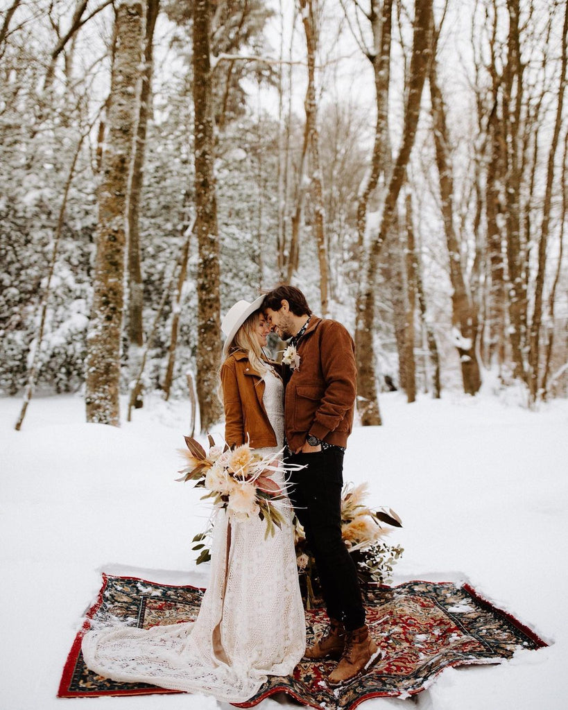 snow covered forest wedding