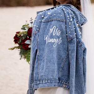 Embroidered Pearl Studded Jean Jacket for Bride