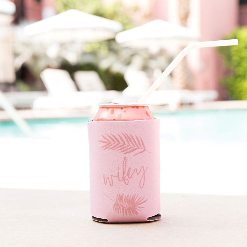 Pink Palm Can Koozie