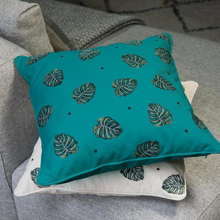 Jungle Leaf Cushion - Teal