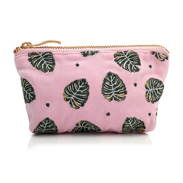Jungle Leaf Velvet Coin Purse - Rose shadow