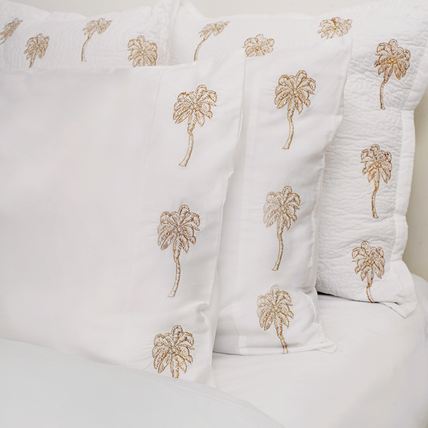 Luxury Soft Cotton Sateen Bed Linen Palmier Pillowcase 2