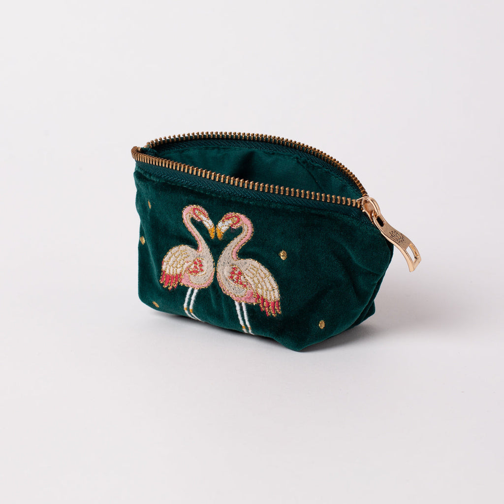 Kissing Flamingo Velvet Coin Handbag 2