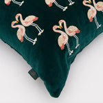 Kissing Flamingo Velvet Cushion 2