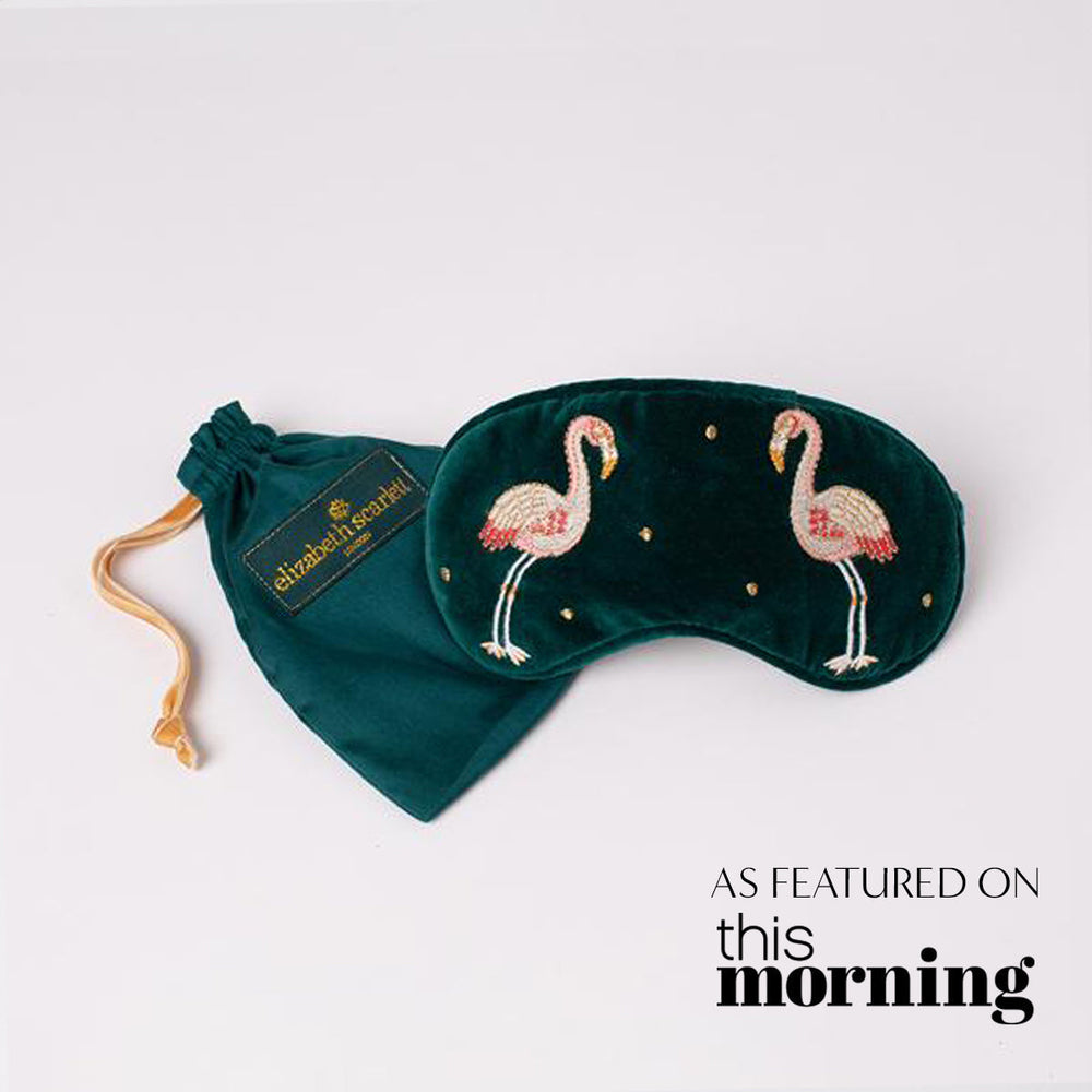 Kissing Flamingo Velvet Eye Mask 1