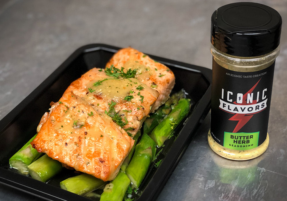 ICON Meals Seared Salmon With Butter Herb Sauce!