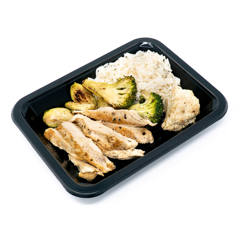 Sliced & Marinated Chicken, Rice & Roasted Veggies