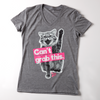 "Women's Grey Vintage Blend ""Can't Grab This"" V-Neck Tee"