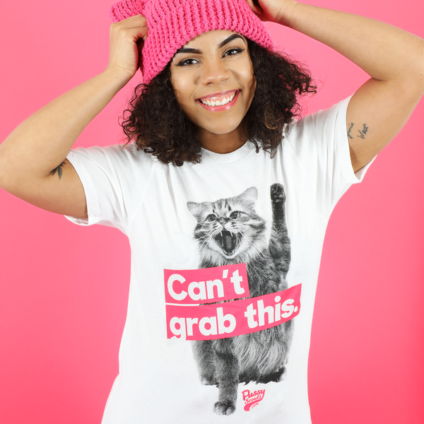 "Unisex White Cotton ""Can't Grab This"" Tee"