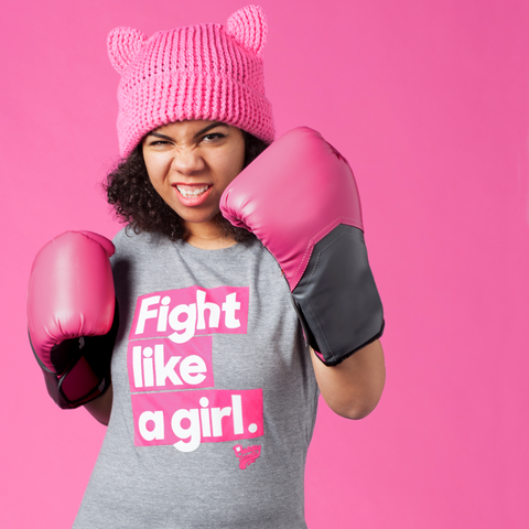 "Women's Grey Vintage Blend ""Fight Like a Girl"" Tee"