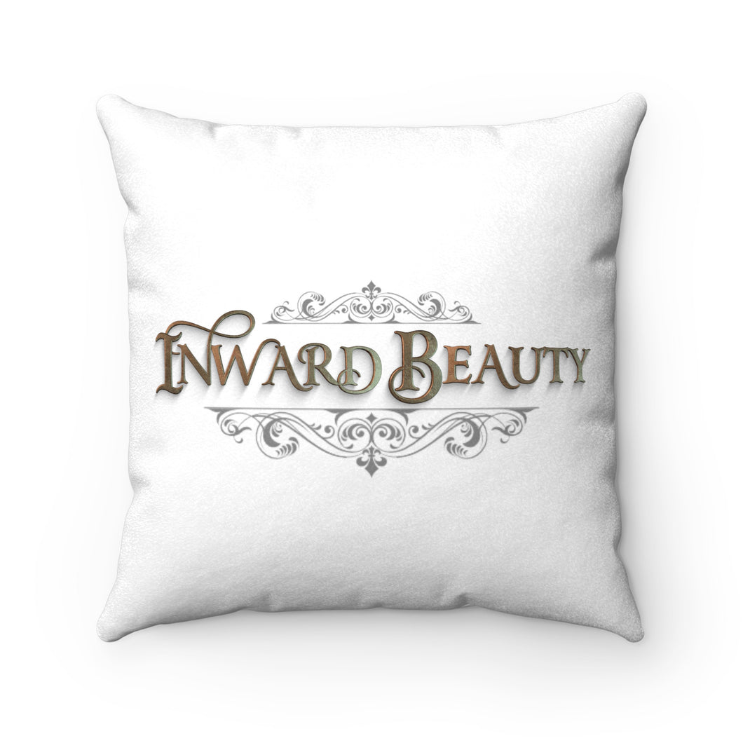 Faux Suede Square Pillow-White with Inward Beauty Logo-1 Peter 3:3-4