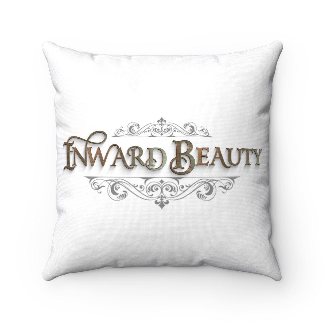 Spun Polyester Square Pillow- White with Inward Beauty Logo