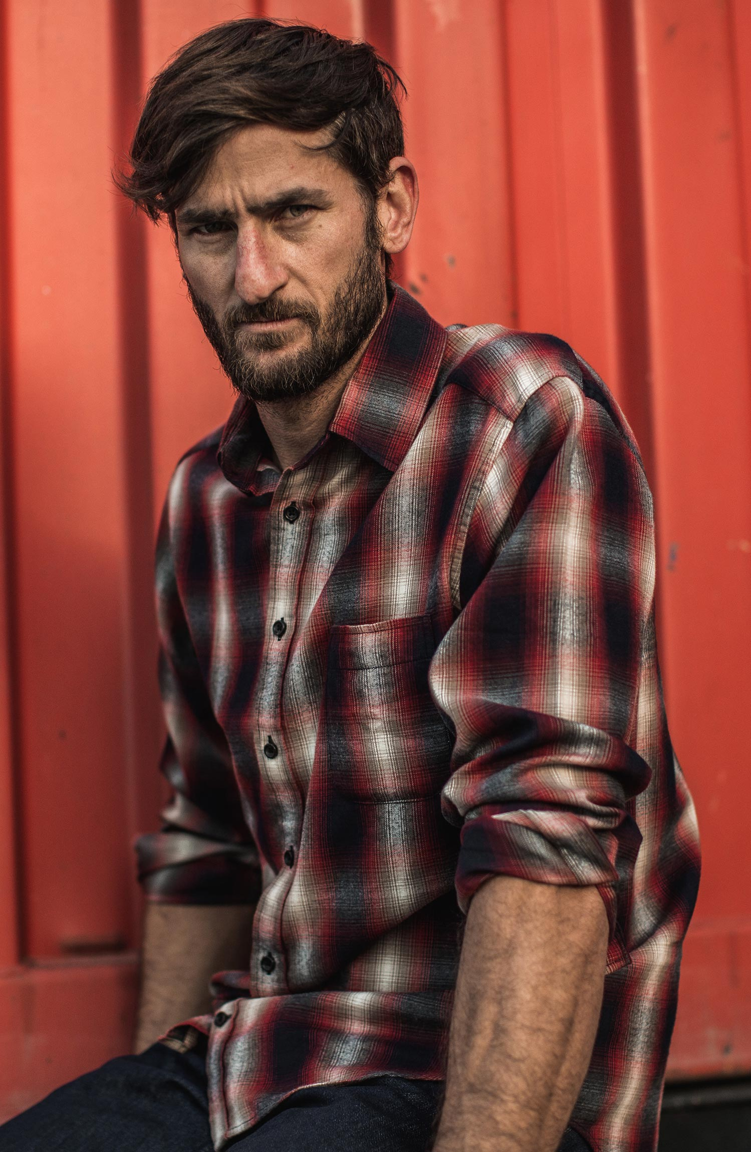 The California in Red Shadow Plaid Collection