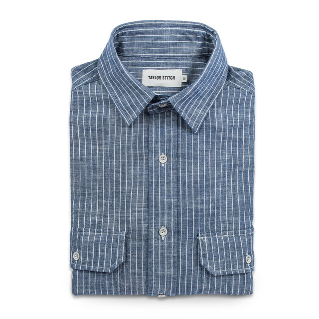 チョアシャツ<br>The Chore Shirt in Indigo Striped Chambray